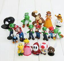 18 unids/set 3-7 cm Super Mario Bros PVC figuras de acción juguetes Yoshi ..