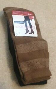NEW 2 Pair Boot Socks Rum Cake/ Black Stripe Tweed Size 4-10 Women NWT