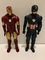 "Lot of 2 Iron Man(2013) 11.5""& Captain America(2018) 11.5"" Marvel Action Figures"