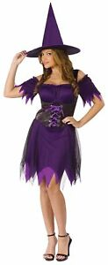 Dark Witch Adult Womens Costume Dress Skirt Sassy Purple Black Halloween