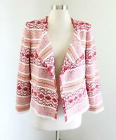 Ann Taylor Loft White Red Orange Striped Fringe Open Front Blazer Jacket Size 6