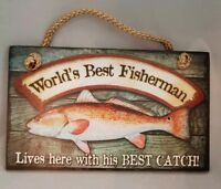 "World's Best Fisherman Fishing Man Cave Sign Wall Art Decor 9.5""x5.5"" Gift"