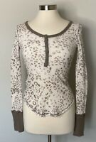 We The Free by Free People Small Leopard Print Davis Henley Thermal Waffle Shirt