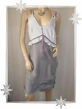 Robe Fantaisie à Bretelles Bi Matière Gris  2026 Modèle Papaye Taille 4