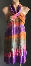 Indie Boho Bright Multi Coloured Tie Dye Halter Neck Casual Sun Dress Size 10-12