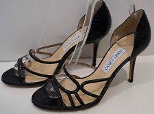 JIMMY CHOO Black Snakeskin & Sparkle Strappy High Heel Sandals Shoes EU39 NEW!