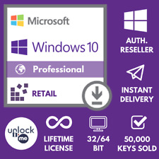 WINDOWS 10 PRO PROFESSIONAL GENUINE LICENSE 🔑 KEY 🔑 INSTANT DELIVERY RETAIL