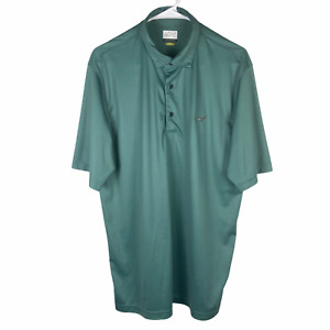 Greg Norman Play Dry Polo Golf Shirt Men's Large Green Blue Dots Short Sleeve