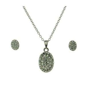 The Olivia Collection Ladies Clear Rhinestone Oval Pendant & Earrings Gift Set