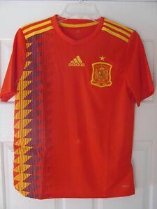 Spain Espana adidas Soccer Fubol Jersey Red Size Youth L (YL) Children Kids