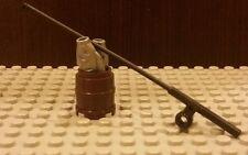 Lego NEW Black Fishing Rod/Pole w/ 2 Silver Fish In A Brown Barrel