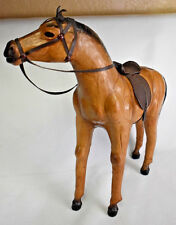 Vintage real leather horse toy, light brown leather horse with glass eyes & leat