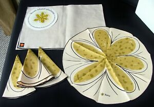 Vintage Vera Neumann Lady Bug ISLAND GLADNESS Linen Napkins Placemats Set of 8