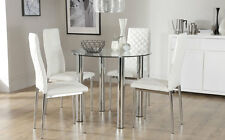 Solar & Renzo Glass & Chrome Dining Table And 4 Chairs Set (White)