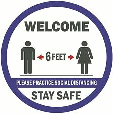 """6 Floor Sign Decals Promote Safety 6 FEET Social Distancing 12"""" Welcome Stickers"""
