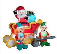 Animated Santa in Sleigh With Elves Christmas Holiday Yard Inflatable