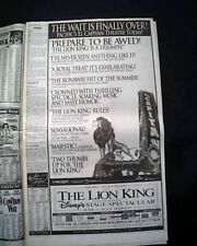 Best THE LION KING Film Movie Opening Day AD & Review 1994 Los Angeles Newspaper
