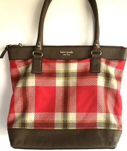 KATE SPADE Red Brown Plaid Handbag Tote Purse Large Size Leather Shoulder Bag