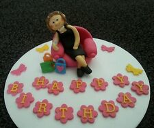 Edible handmade drunk lady with champagne glass retirement birthday cake topper