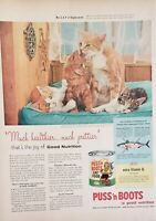 Lot of 3 Vintage 1954 Puss 'n Boots Cat Food Advertisements Good Nutrition!