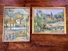 More details for pair genuine 1900s post impressionist oil painting,feature wall,gilt wood frame