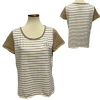 L-RL Lauren active women's top striped short sleeve size XL (G-1H)
