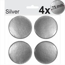 4x 75mm Silver Domed Resin Centre Cap Hub 3D Stickers Wheel Caps Badge Emblem