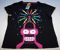 Futurama Bender Ladies Black Printed Short Sleeve T Shirt Size XL New