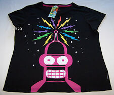 Futurama Bender Ladies Black Printed T Shirt Size M New