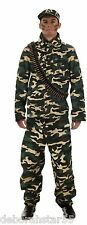 Mens Army Costume Soldier Costume Army Man Fancy Dress Costume Camouflage M/L