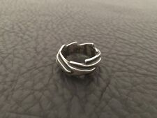 VINTAGE STERLING SILVER BRUTALIST ARROWS MID CENTURY MODERNIST MENS RING SZ.9