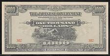 Malaya Japanese Invasion Money 1000 Dollars 1940's WWII MU Block Unc