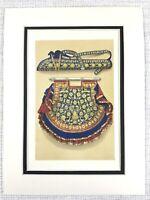 1857 Antico Stampa Indiano Ricamo Donna Ventola Freccia Faretra Cucito
