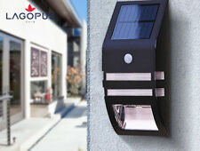 Solar Powered LED Security Wall Light PIR Motion Sensor Outdoor Garden Patio