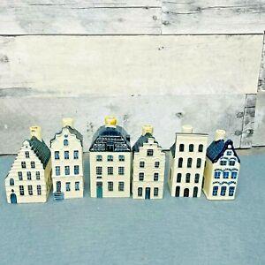 Lot of 6 KLM Bols Delft Miniature House #27, #34, #44, #45, #55, & Blank (EMPTY)