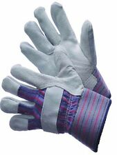 "Work Gloves Leather Palm Shoulder Split 2 1/2"" Rubberized Cuff Pack of 12 Pairs"