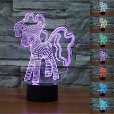 Novelty My Little Pony 3D Night Light 7 Colors Changing LED Table Lamp Xmas Gift