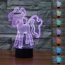 Novelty My Little Pony 3D LED Night Light 7 Colors Table Desk Lamp Kids Gifts UK
