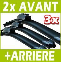 3 BALAIS D'ESSUIE GLACE FLEXIBLE AVANT + ARRIERE pour RENAULT CLIO 3 III 6.2007+