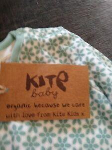 Kitekids green flowery baby vest 3-6m new