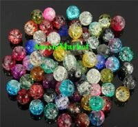 50 x crackle beads acrylic plastic round mixed crackled jewellery making 8mm