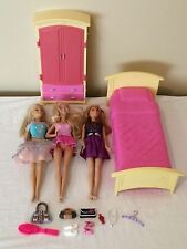 Barbie Lot Dollhouse Furniture Bed Dresser Dolls Clothing Accessories