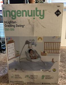 Ingenuity Inlighten Cradling Plug-In Swing with LightBeams Mobile - Landry Lion