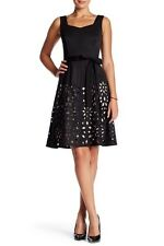Nue By Shani Laser Cut Sweetheart Bengaline Fit & Flare 8 Black Skirt Dress New