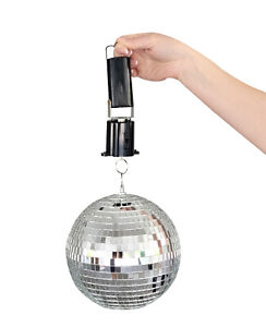"""Cool 80's-themed Disco Mirror Ball Motor + 8"""" LARGE Shiny Mirror Ball (Package D"""
