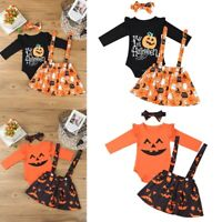 Infant Baby Girls Cartoon Pumpkin Romper Long Sleeve Bodysuits Toddlers Outfits