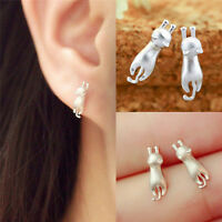 Pretty Delicate Tiny Funny Cats Earrings Chic Silver Plated Kitty Stud Earring .