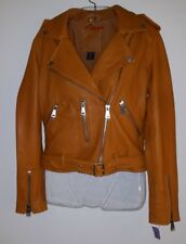 Amaryllis leather bomber jacket coat pumpkin caramel sz. small nwt