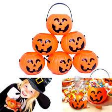Halloween Party Cosplay Props Plastic Pumpkin Bucket Trick Decor Pouch Holder