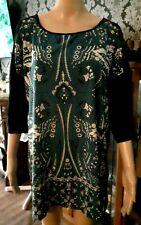 Women's Black & Deep Sea Green Paisley Top Sz 18+ - Belle Curve Brand